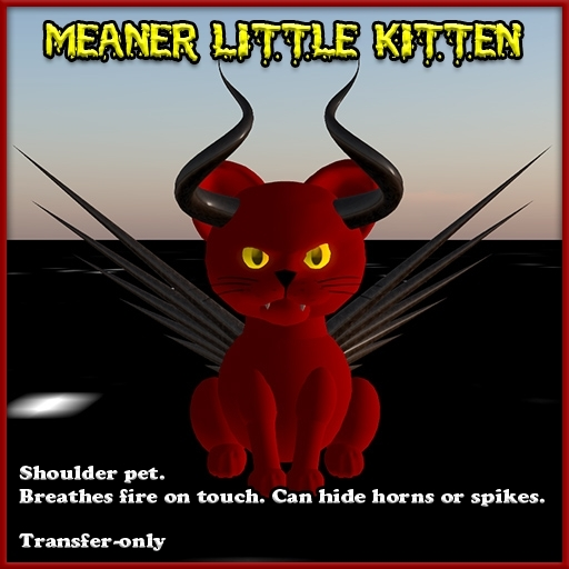 MEANER little kitten fire-breathing shoulder pet (devil cat)