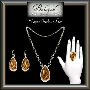 Beloved Jewelry : Topaz Jewelry Set Silver (3 Piece Jewelry Set-Necklace, Dangle Earrings, Ring)