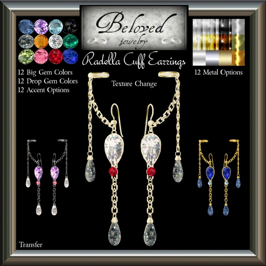 Beloved Jewelry : Radella Cuff Earrings (Texture Change) Choice of Silver, Platinum, Gold, 12 Gems, Amethyst, Ruby