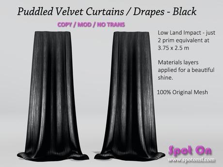 Spot On Velvet Puddled Curtains - Black