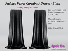 Spot On Velvet Puddled Curtains - Black