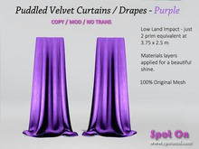 Spot On Velvet Puddled Curtains - Purple