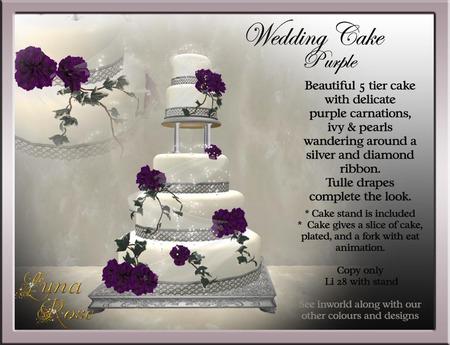 Second Life Marketplace Wedding Cake Purple Carnation