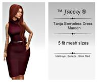 Tanja Sleeveless Dress - Maroon  - FIT MESH - (tm) Freeky