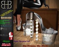 !!BHB!! TIPS GLASS SLIPPERS WITH BONUS GARTER BELT (  SLINK, BELLEZA, MAITREYA )