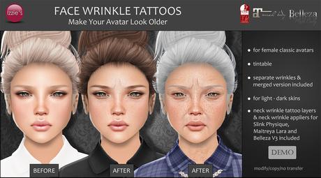 Izzie's - DEMO Face Wrinkle Tattoos