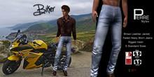 PierreStyles -BIKER -Brown Jacket , Faded Jeans