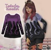 "Tentacles Sweater ""dark purple on black"" (mesh) - even.flow"