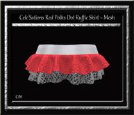 Cele'Sations Polka Dot Ruffle Mini Skirt Red MESH [ Maitreya Slink TMP Eve Belleza ]