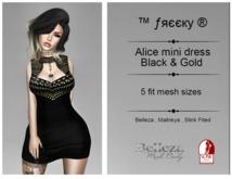 Alice mini dress  -Black & Gold- Fit Mesh - (tm) Freeky