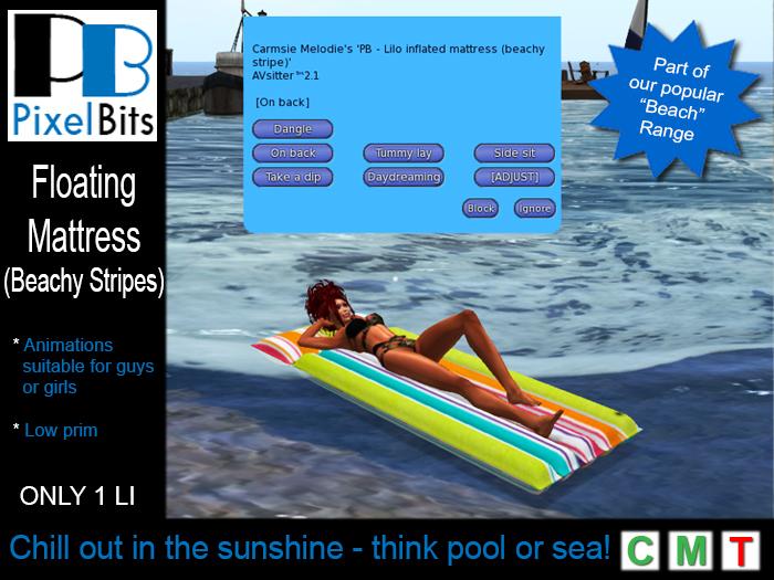 PB - Floating mattress (beachy stripe). Gr8 4 beaches & pools!
