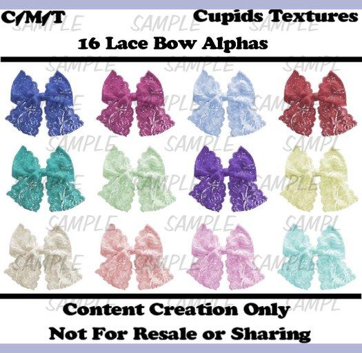 *CUPIDS TEXTURES* 16 Lace Bows Alpha Textures