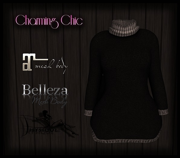 {CC} Rolled Neck Sweater - Black  {ADD ME}