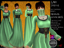 .:: VH ::. Lady Joelle Mesh Medieval Dress with Appliers - Green