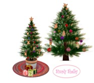Gingerbread Cookie Christmas Tree on Red Braided Rug-Clearance Sale Item