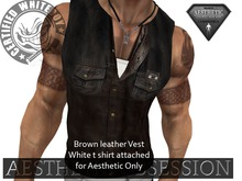 Authentic Aesthetic~Brown leather vest over T