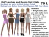 OnP Skirt Sets Leather and Denim for Mesh Avatars (non mesh clothing)