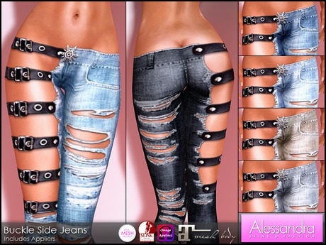 ALESSANDRA - Buckle Side Jeans (6 Color Pack)