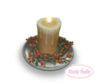 Holly and Candle Plate -   Red Berries