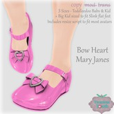 {V*Y} Bow Heart Mary Janes - Solids (Pink)