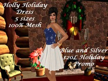 Holly Holiday Blue n Silver