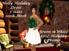 Holly Holiday Dress Green n White