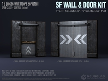 WALL & DOOR KIT (Mesh+Materials) [NeurolaB Inc.] Cyber Cyberpunk Sci-fi Prefab