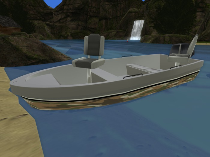 Camouflage drivable skybox fishing boat.(18 prims)
