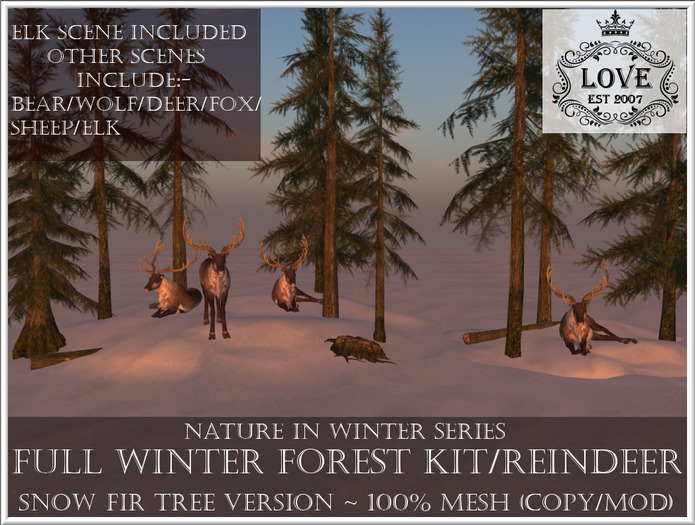 LOVE - NATURE IN WINTER - FULL FOREST KIT WITH REINDEER (SNOW FIR VERSION) *PROMO*
