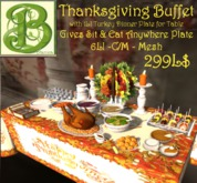 Low Prim Instant Thanksgiving Dinner Buffet with Animated Sit Anywhere and Eat Plates, V2 Mesh 7LI
