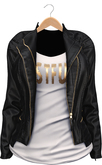 Blueberry - Asia - Mesh Leather Jacket - Maitreya/Belleza/Slink - Black