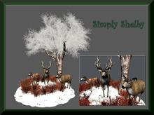 ***SALE - 75% OFF****Winter Bliss - Snow Covered Tree and Deer Family