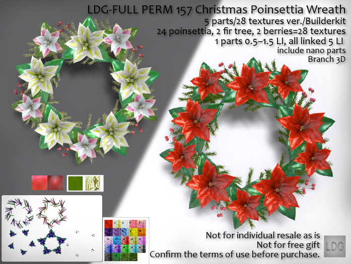 LDG-FULL PERM 157 Christmas Poinsettia Wreath/5 parts/28 textures ver./Builderkit