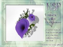 NSP Unisex Calla Lily Boutonniere Lavender boxed