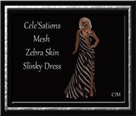 Cele'Sations One Shoulder Slinky Mesh Dress ~ Zebra Print