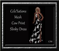 Cele'Sations One Shoulder Slinky Mesh Dress ~ Cow Print