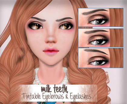 milk teeth. Blossom Tintable Eyelashes & Eyebrows for M3 Venus Head