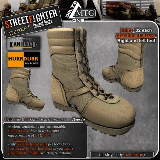D1-MTG StreetFighter desert Tactical Combat Boots