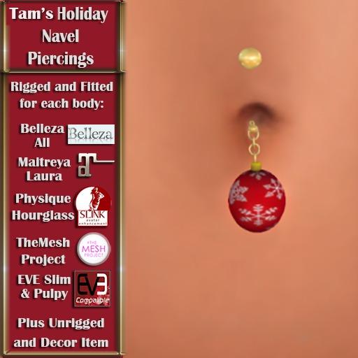 Tam's Holiday Christmas Ball Navel PIercing