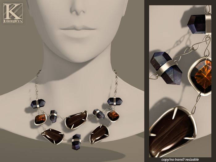 (Kunglers) Iracy necklace - Obsidian