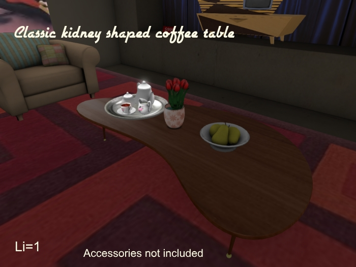 Second Life Marketplace Retroco Classic Kidney Coffee Table