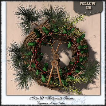 !! Follow US !! Holly wreath - Reindeer pack COPY version