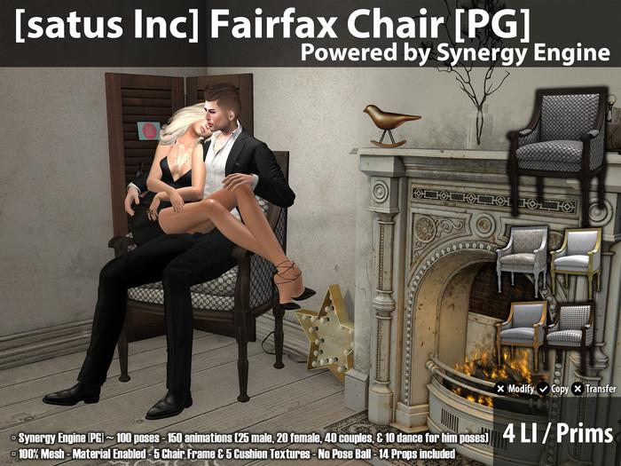 [satus Inc] Fairfax Chair [PG] {Synergy Engine} ~ 150 Animations 100 Poses