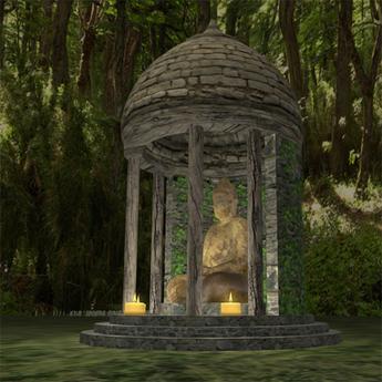 Second Life Marketplace Buddha Buddhist Shrine 2 Garden Flowers Fountain Folly Gazebo Temple Buddhism Zen Statue