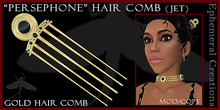 """Mayfly - """"Persephone"""" Hair Comb (gold/jet)"""
