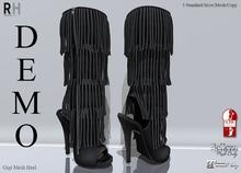 !Rebel Hope - Gigi Mesh Fringe Boots  DEMO
