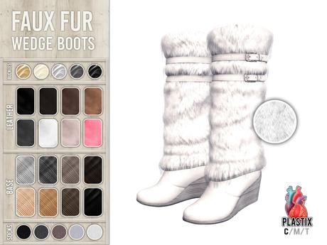 PLASTIX - Fur Wedge Boots (White)