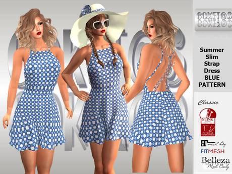 coket@s Summer Slim Strap Dress BLUE PATTERN