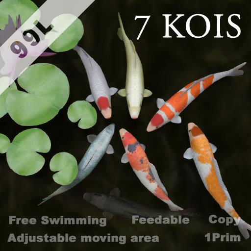1 Prim Mesh 7 Kois (feedable, copyable)