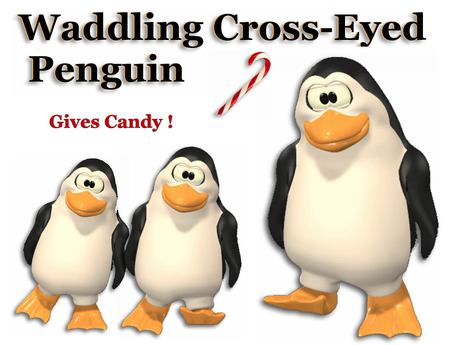 ❄ Waddling Cross-Eyed Penguin - Gives Candy Cane On Touch